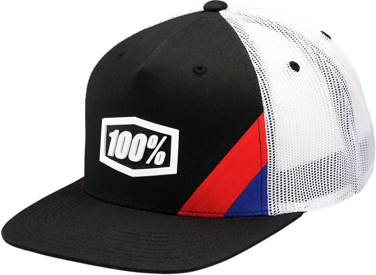 100% Youth CORNERSTONE Flat Bill SnapBack Trucker Hat (Black/White)