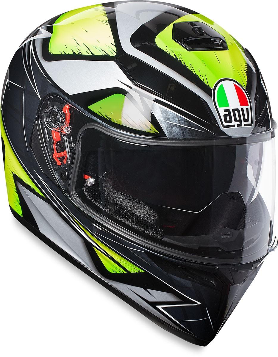 6c475fa4 AGV K3 SV Full-Face Motorcycle Helmet w/ Sun Visor (Liquefi Gloss Grey Flo  Yellow)
