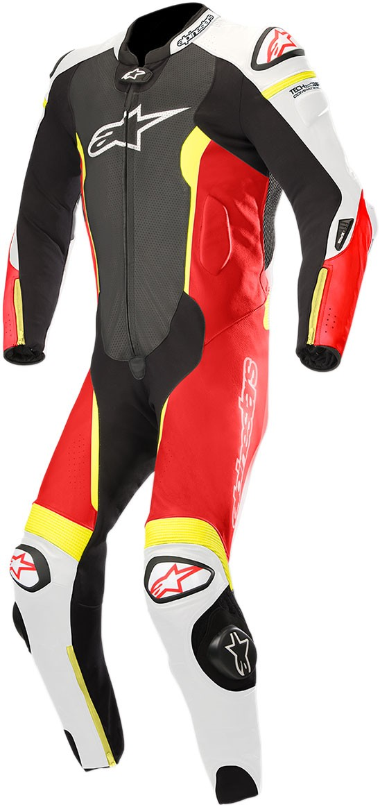 db6bd051e4f Alpinestars MISSILE Leather Motorcycle Riding Suit Tech-Air Compatible  (Black/White/Flo Red/Flo Yellow)