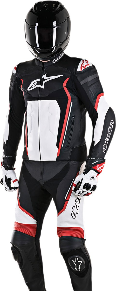 Alpinestars MOTEGI V2 2-Piece Leather Suit (Black/White/Red)