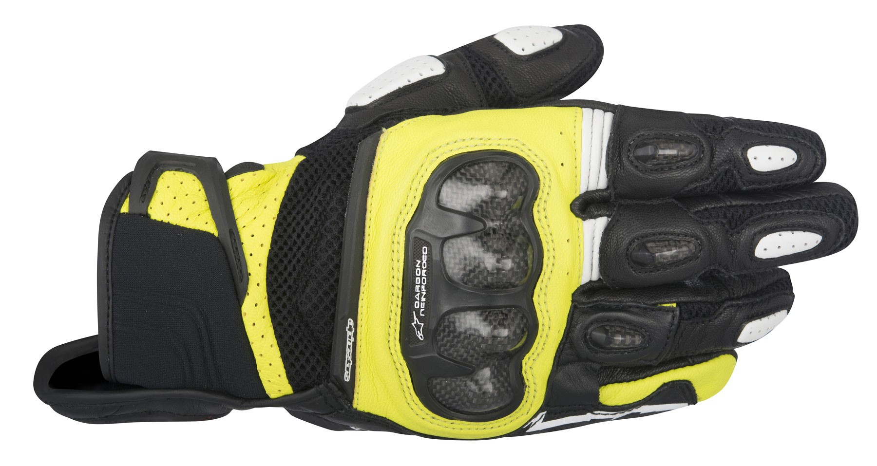 Motorcycle gloves mesh - Alpinestars 2016 Spx Air Carbon Leather Mesh Motorcycle Riding Gloves Black Yellow