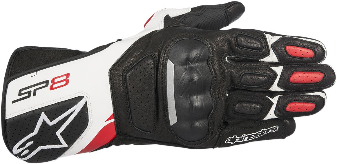 Alpinestars SP-8 V2 Touchscreen Leather Motorcycle Gloves (Black/White/Red)
