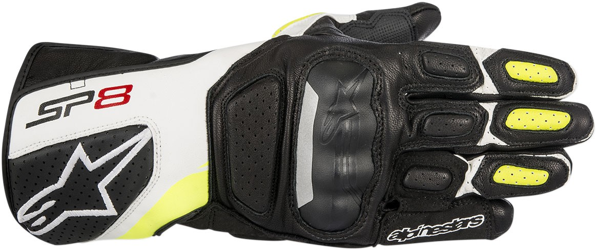 Alpinestars SP-8 V2 Touchscreen Leather Motorcycle Gloves (Black/White/Flo Yellow)