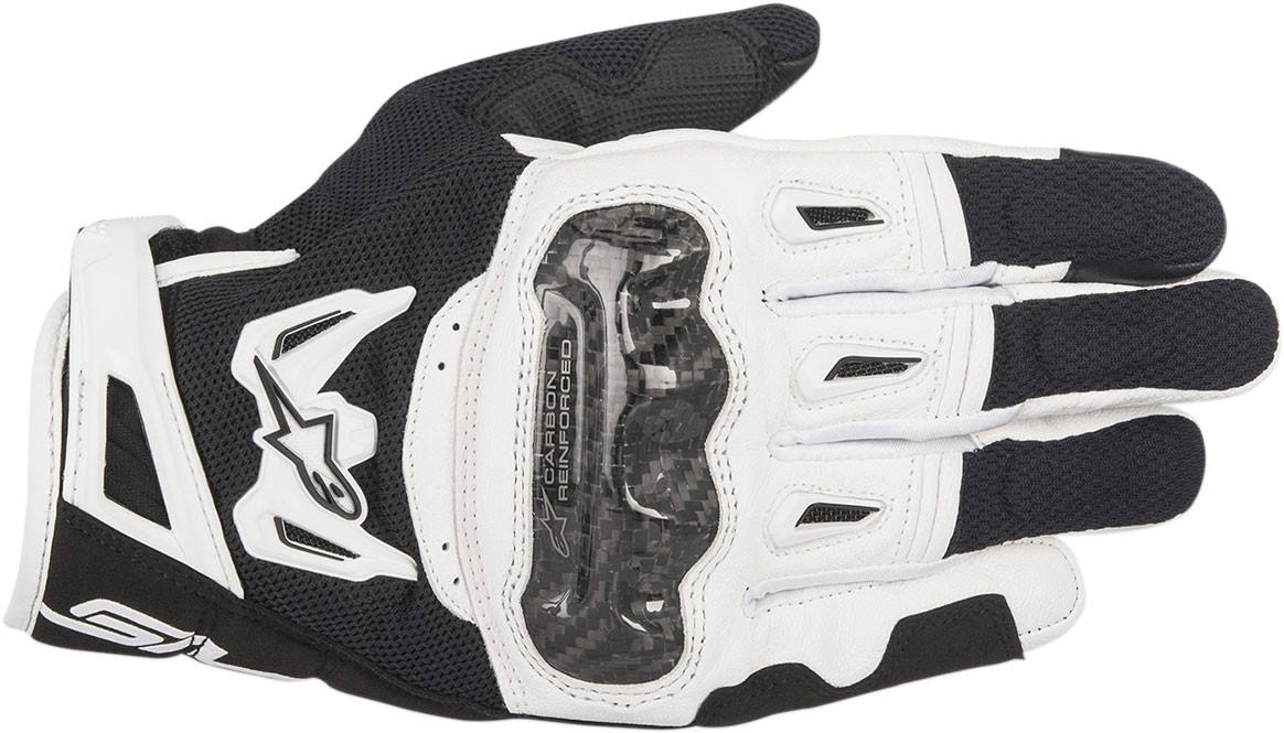 Alpinestars SMX-2 Air Carbon V2 Touchscreen Leather Motorcycle Gloves (Black/White)
