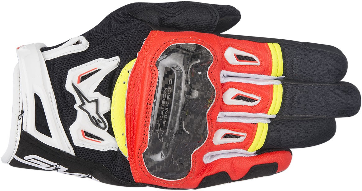 Alpinestars SMX-2 Air Carbon V2 Touchscreen Leather Motorcycle Gloves (Black/Flo Red/White/Flo Yellow)