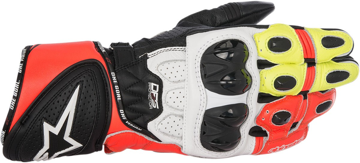 Alpinestars GP PLUS R Leather Gloves (Black/White/Red/Yellow)