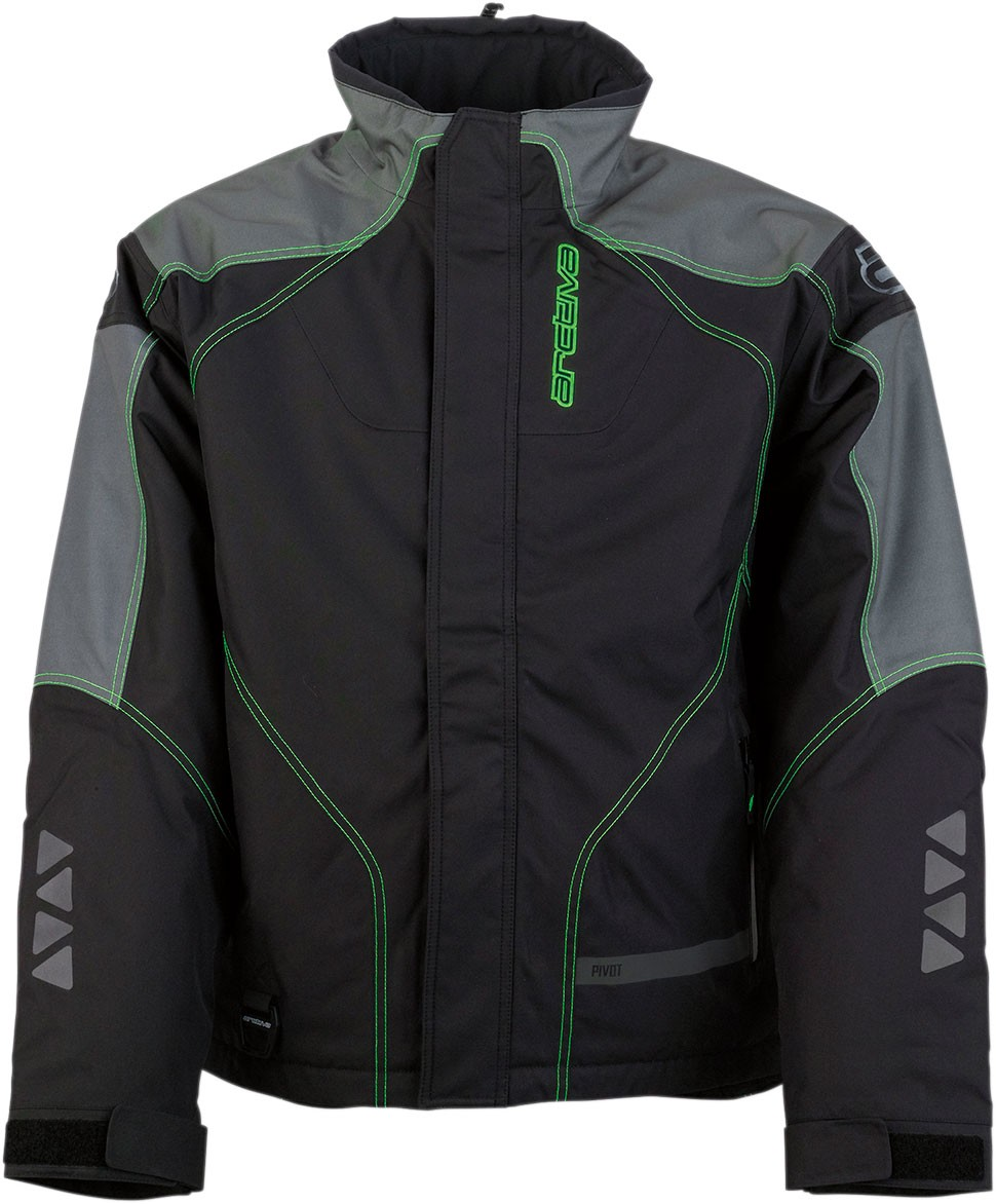 Arctiva Snow Snowmobile Men's PIVOT 2 Insulated Waterproof Jacket (Black/Green)