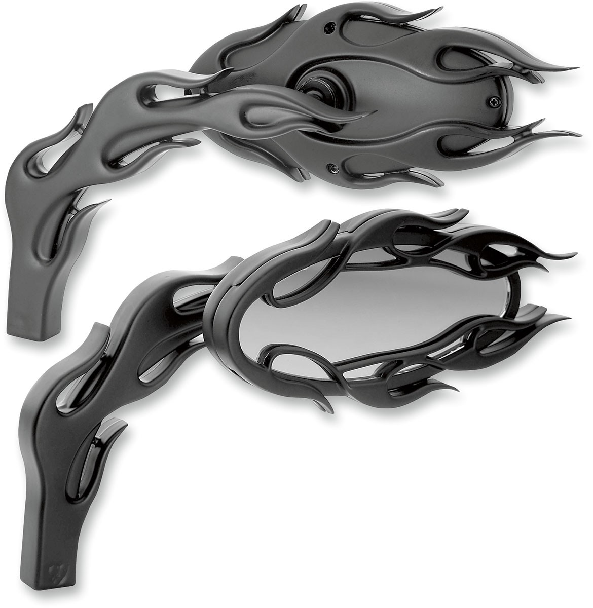 Arlen Ness - 13-087 - Die-Cast Flamed Mirror, Left - Black
