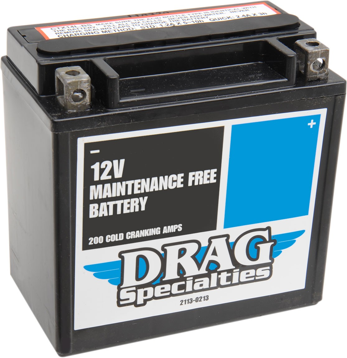 Drag Specialties AGM Maintenance-Free Battery (Cross Ref YTX14LBS) 2113-0213