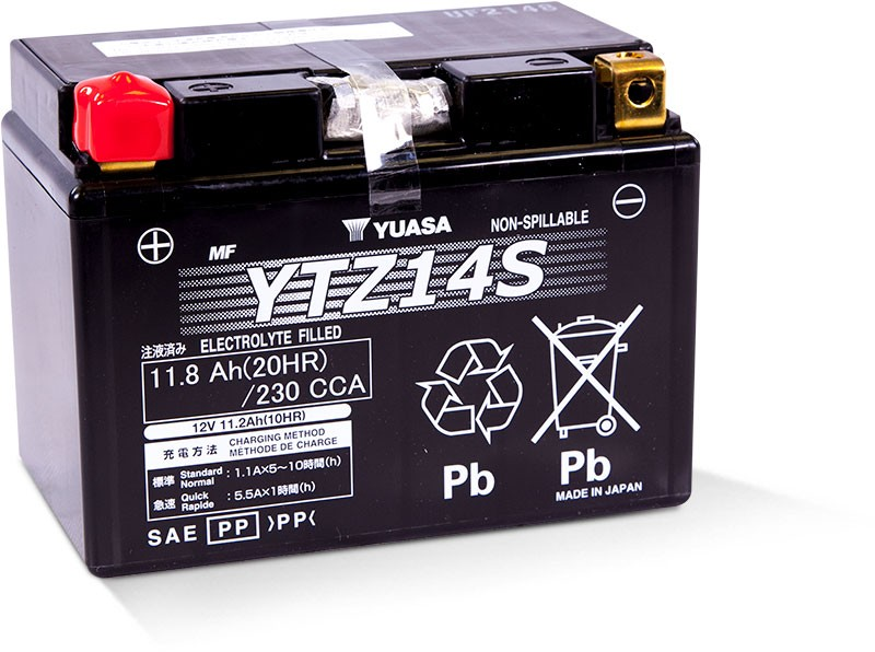 Yuasa Factory-Activated High Performance Maintenance-Free AGM Battery (YTZ14S) YUAM72Z14