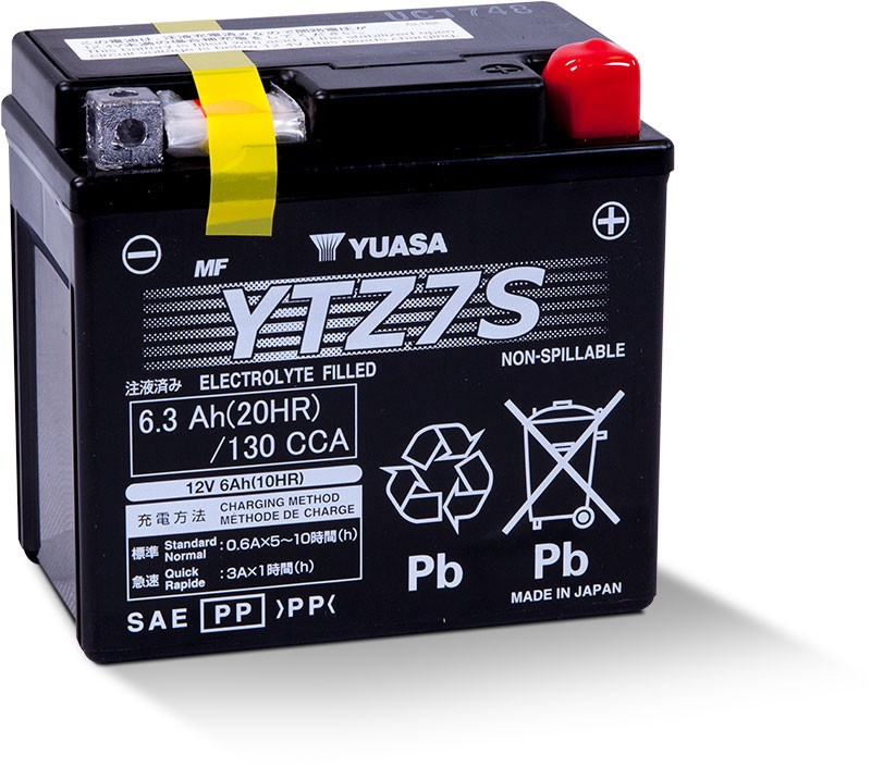 Yuasa Factory-Activated High Performance Maintenance-Free AGM Battery (YTZ7S) YUAM727ZS