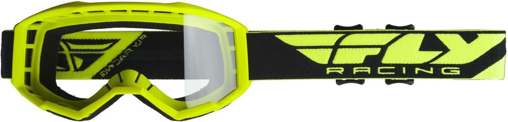 Fly Racing MX Motocross Kids Youth 2019 Focus Goggles (Hi-Vis Yellow w/Clear Lens)