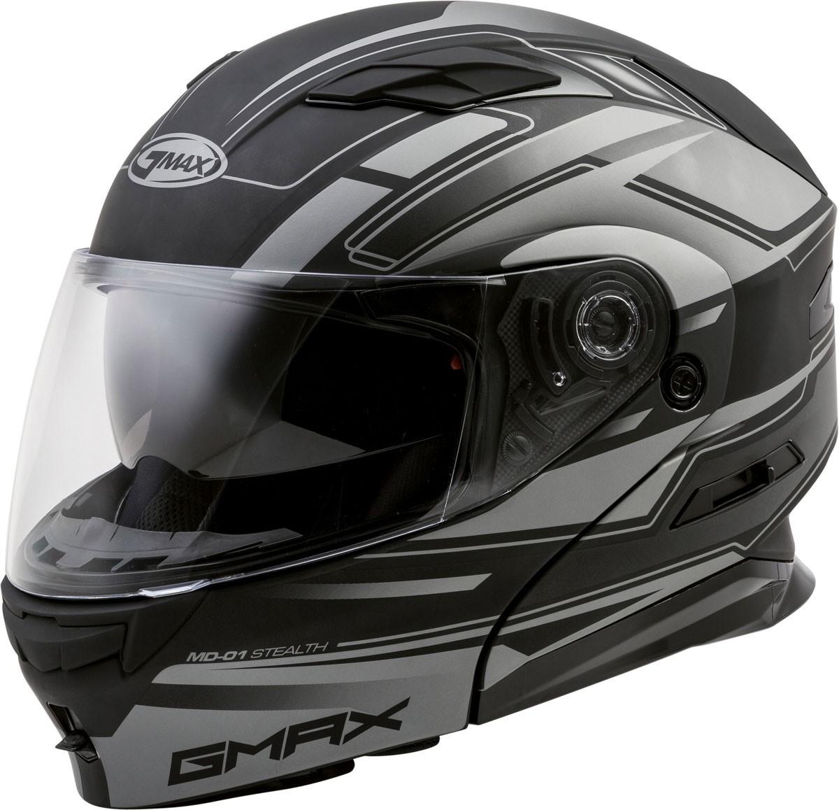GMAX MD-01 STEALTH Modular Flip-Up Motorcycle Helmet w Drop-Down Sun Visor  (Matte Black Silver) 4139eb9f2de