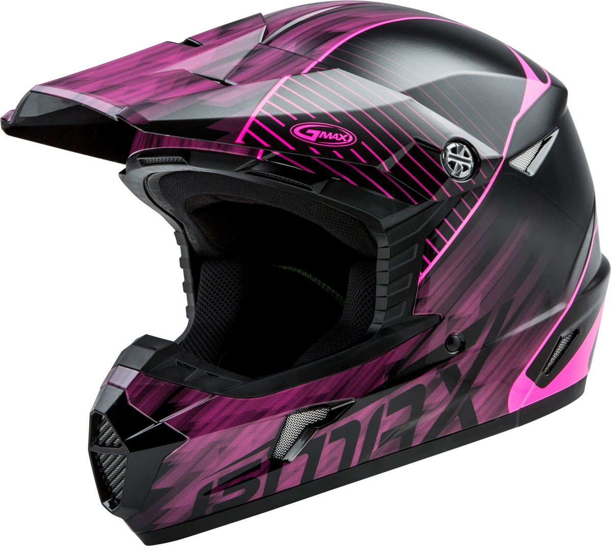GMAX MX-46Y COLFAX Kids MX/Motocross/Off-Road Motorcycle Helmet (Gloss Black/Hi-Vis Pink)