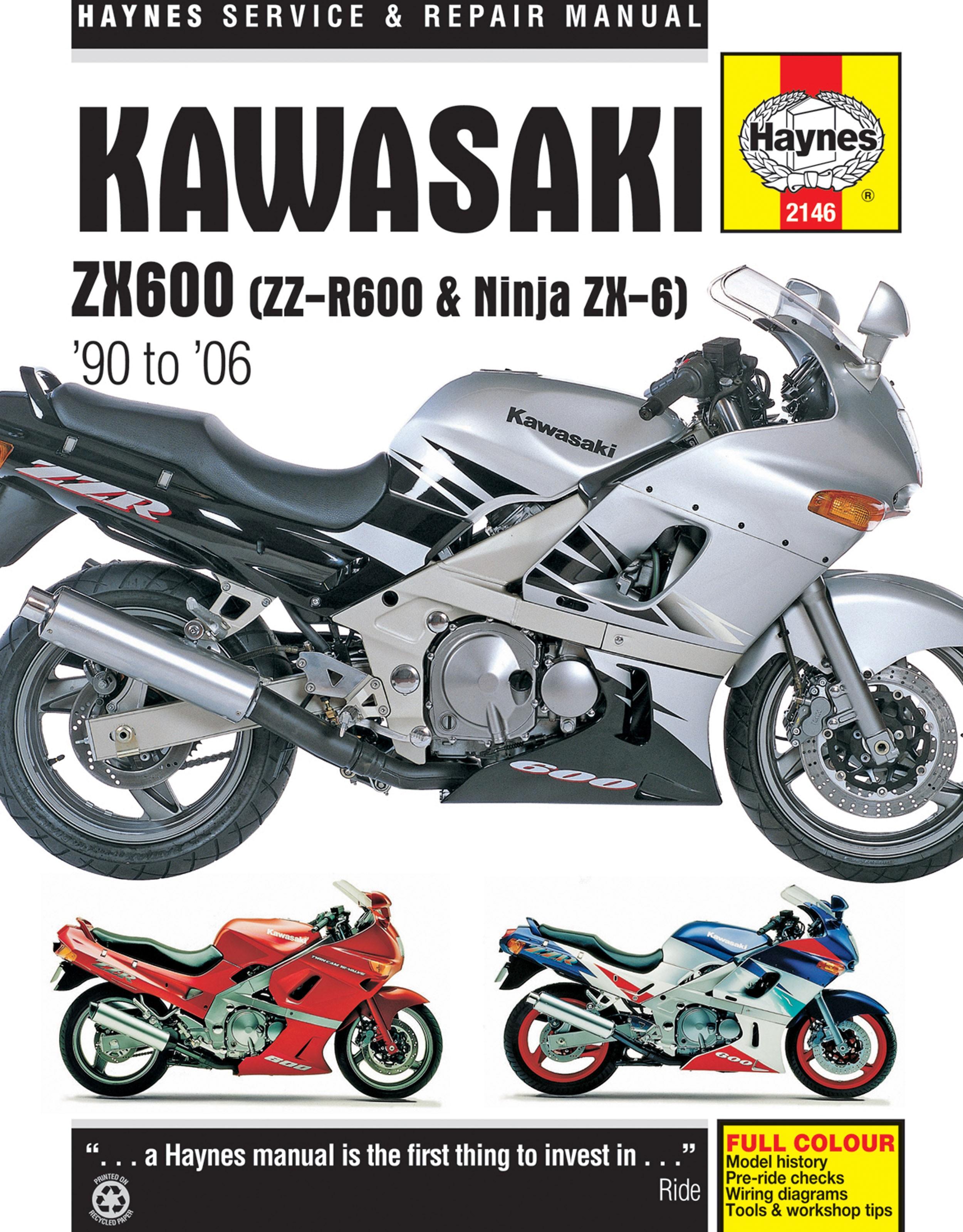 HAYNES Repair Manual - Kawasaki ZX600 ZZ-R600 and Ninja ZX-6 (1990-2004)