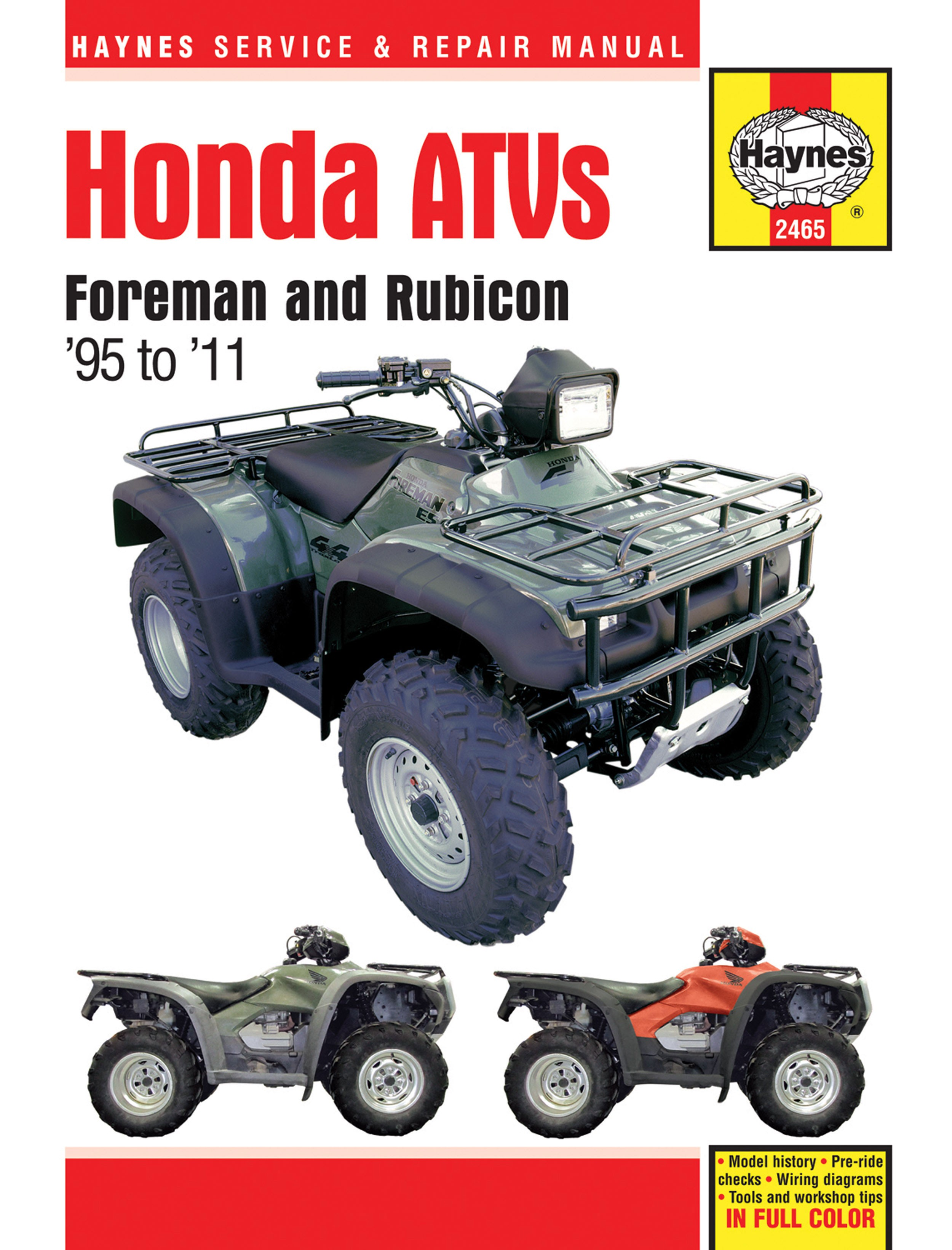HAYNES Repair Manual - Honda Foreman 400 (1995-03) 450 (1998-04) Rubicon  500 (2001-11)