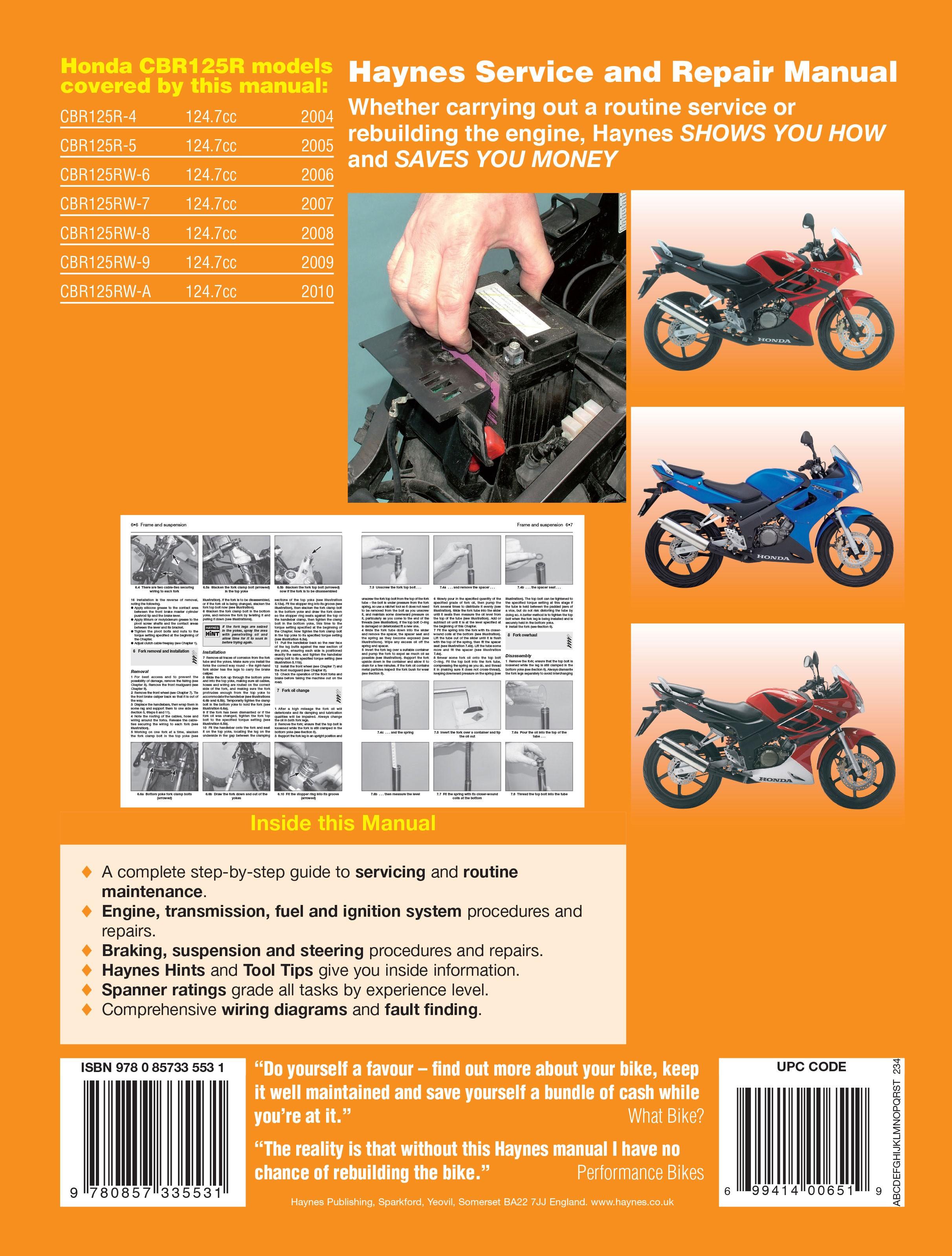 Haynes repair manual honda cbr125r 2004 2010 solutioingenieria Images