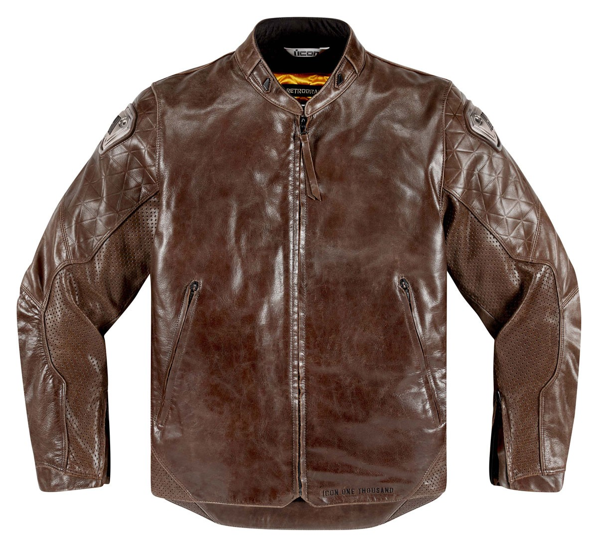 ICON 1000 RETROGRADE Retro Leather Motorcycle Jacket (Brown)