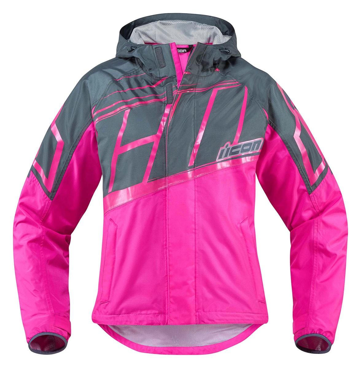 ICON Women's PDX 2 Waterproof Nylon Motorcycle Rain Jacket (Pink)