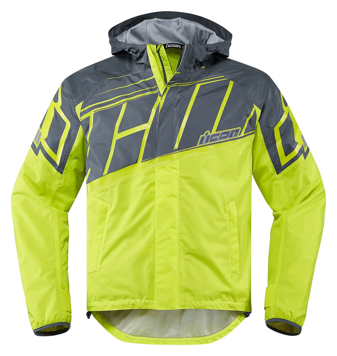 ICON PDX 2 Waterproof Nylon Motorcycle Rain Jacket (Hi-Viz)