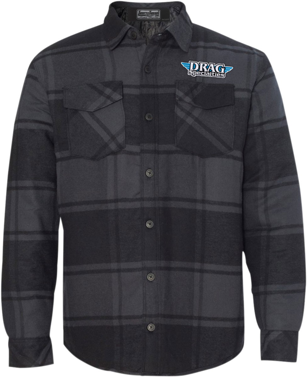 Throttle Threads Men's DRAG SPECIALTIES Plaid Flannel Quilted Jacket (Charcoal Plaid)