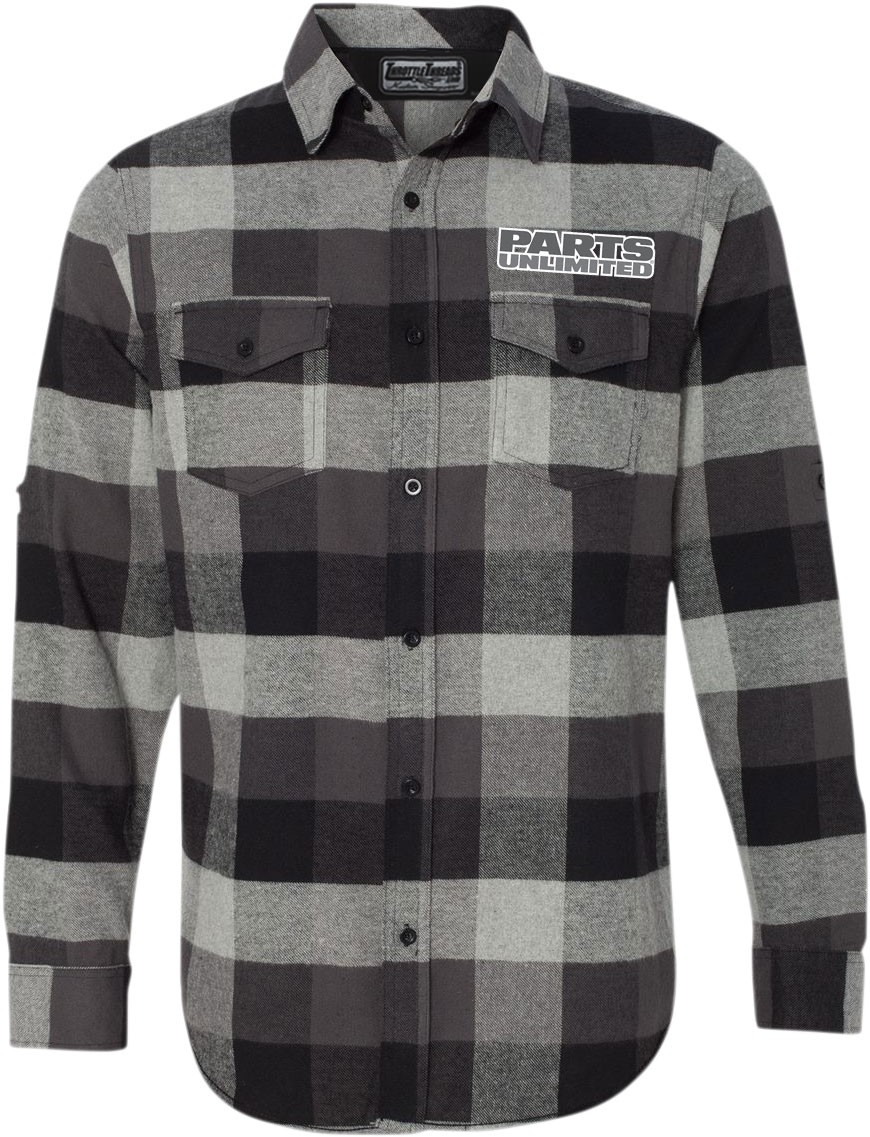 Throttle Threads Men's PARTS UNLIMITED Checkered Flannel Shirt (Black/White)