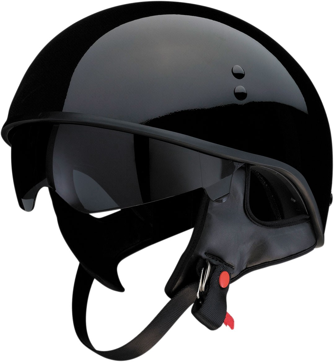 Z1R VAGRANT Half Helmet w/ Dropdown Sun Visor (Gloss Black)