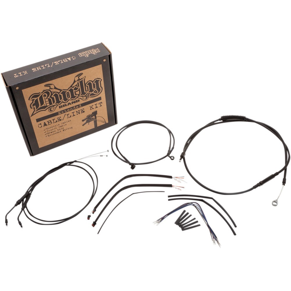 Burly Brand Complete Black Vinyl Handlebar Cable/Brake Line Kit For 14' Ape Hanger Handlebars
