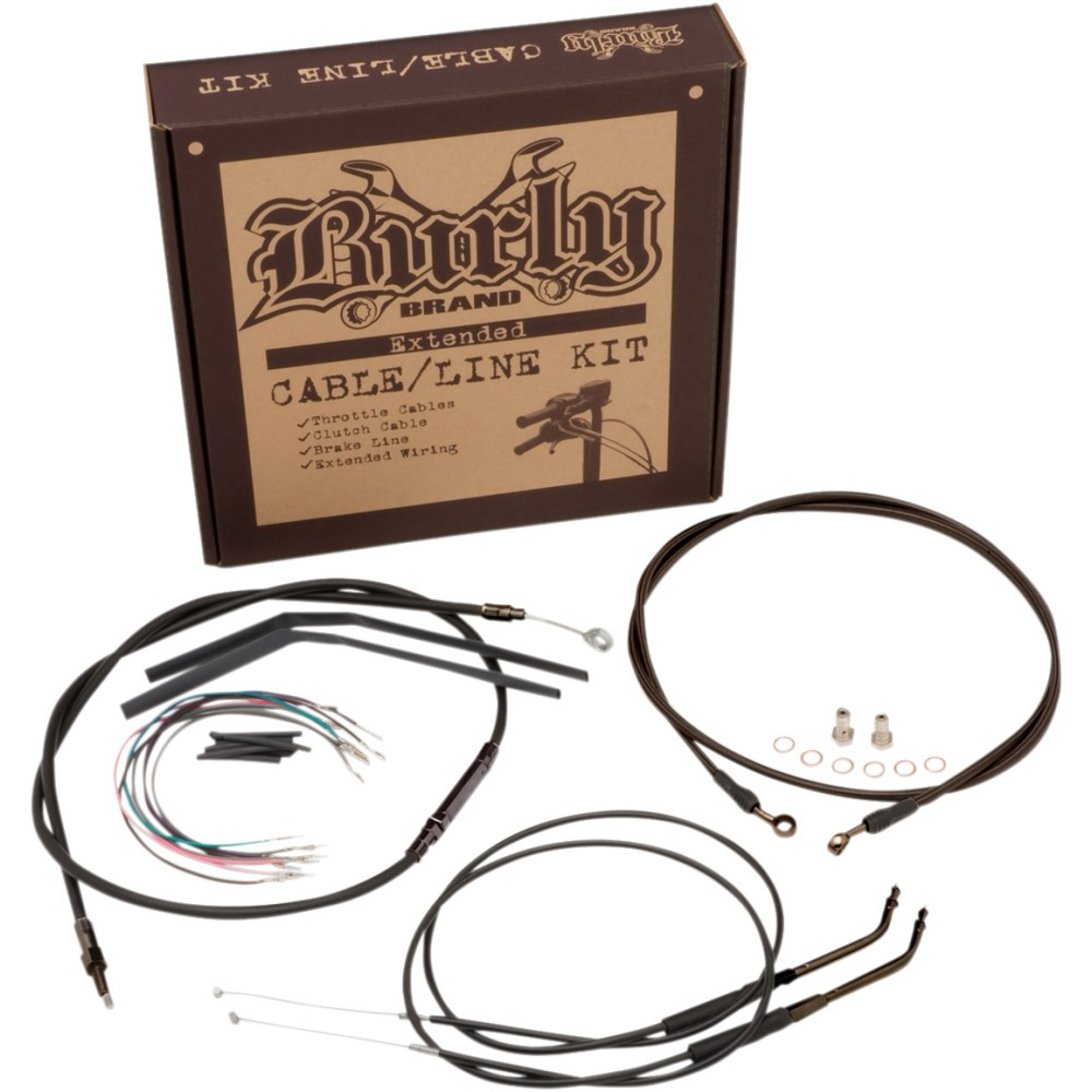 Burly Brand Complete Black Vinyl Handlebar Cable/Brake Line Kit For 14' Ape Hanger Handlebars w/ ABS